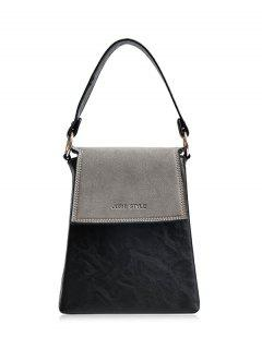 Embossing Color Block Faux Leather Handbag - Gray