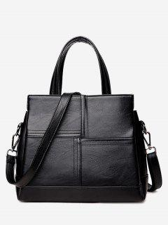 Cross Stitching Faux Leather Tote Bag - Black