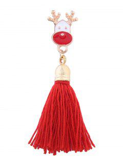 Christmas Elk Tassel Decoration Brooch - Red