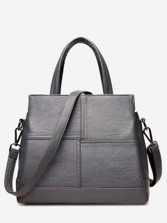 Cross Stitching Faux Leather Tote Bag - Gray