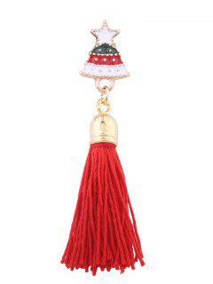 Christmas Tree Star Tassel Brooch - Red
