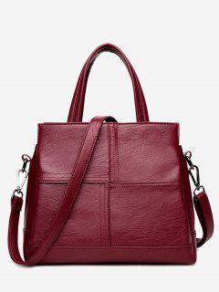 Cross Stitching Faux Leather Tote Bag - Wine Red
