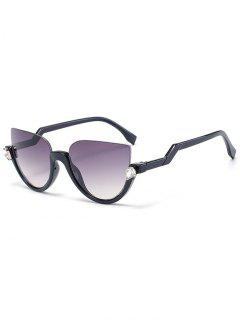 Half Frame Cat Eye Sunglasses - Black Frame+grey Lens