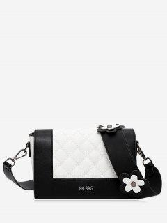 Flower Quilted Color Block Crossbody Bag - Black