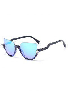 Half Frame Cat Eye Sunglasses - Transparent Blue Frame + Blue Lens