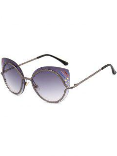 Rhinestones Mirror Cat Eye Sunglasses - Gray