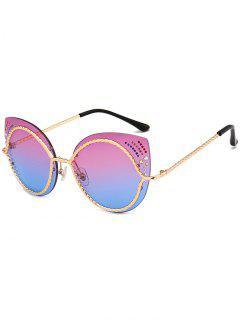 Rhinestones Mirror Cat Eye Sunglasses - Violet Blue