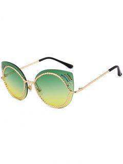 Rhinestones Mirror Cat Eye Sunglasses - Yellow + Green