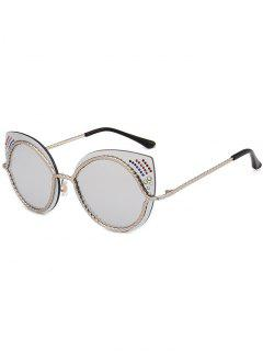 Rhinestones Mirror Cat Eye Sunglasses - Silver