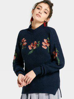 Embroidered Chunky High Low Sweater - Purplish Blue
