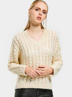 V Neck Drop Shoulder Cable Knit Sweater - Palomino