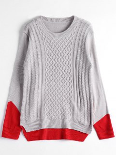 Cable Knit Two Tone Sweater - Gray
