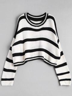 Crew Neck Stripe Cropped Sweater - Off-white