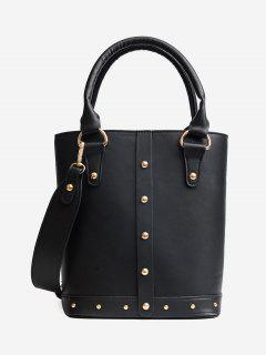 Stud Faux Leather Tote Bag - Black