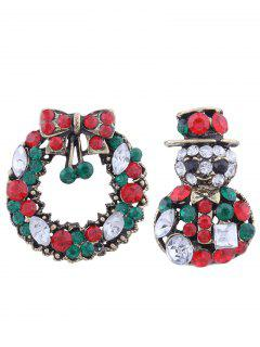 Rhinestone Christmas Wreath Snowman Brooches - Green