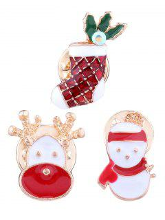 Christmas Elk Snowman Stocking Brooches - Red