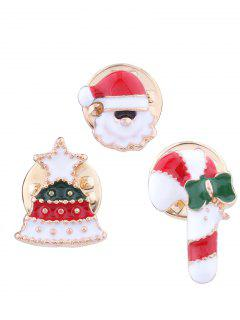 Christmas Santa Tree Star Candy Cane Brooches - Red