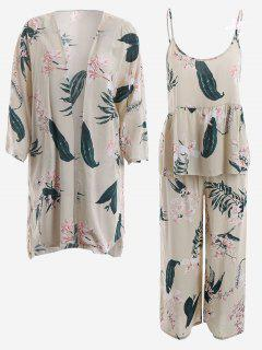 Pajamas Lily Print Kimono And Cami Top And Pants - Light Apricot L
