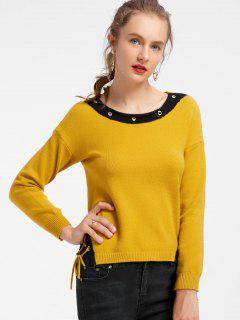 Kontrastierende Schnürung Hoch Niedrige Pullover - Gelb