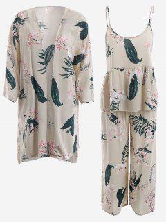 Pyjamas Lily Posterdrucke Kimono Und Cami Top Und Hose - Helle Aprikose M
