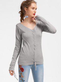 Lace Up V Neck Knitwear - Gray