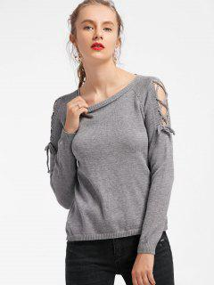 Fitting Raglan Sleeve Lace Up Sweater - Gray