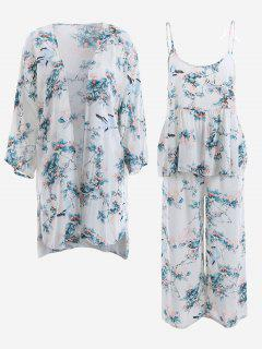 Pajamas Chinese Painting Kimono And Cami Top And Pants - White M