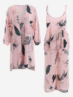 Pajamas Lily Print Kimono And Cami Top And Pants - Pink M