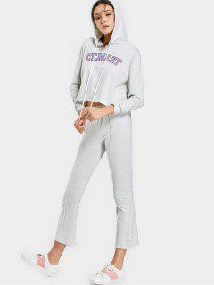 Letter Graphic Hoodie And Pants Set - Light Gray S