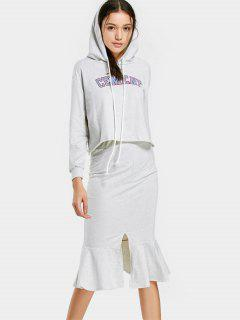 Letter Graphic Hoodie And Mermaid Skirt Set - Light Gray S
