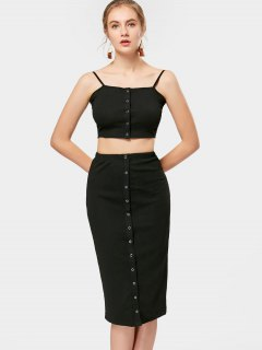 Cropped Knitted Tank Top And Midi Sheath Skirt - Black S