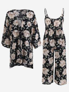 Pajamas Peony Print Kimono And Cami Top And Pants - Black Xl