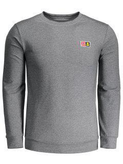 Sweatshirt Mit Rundhalsausschnitt Und Patch - Grau 3xl