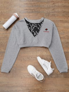 Lace Panel Cropped Sweatshirt - Gray S