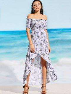 Off Shoulder Smocked Floral Slit Maxi Beach Dress - Floral S