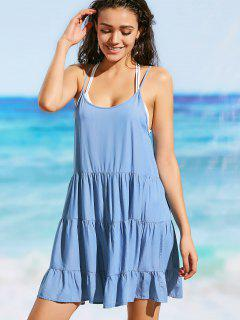 Cami Low Back Chambray Beach Dress - Blue S