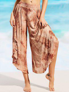 Printed Cover Up Tulip Pants - Brown M