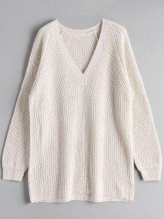 V Neck Longline Sweater - Off-white