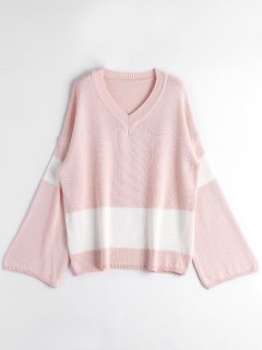 Oversized Two Tone Sweater - Light Pink