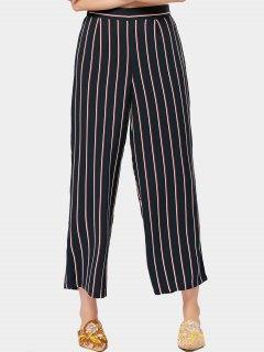 Pantalon Taille Haute à Rayures Pattes Larges - Rayure M