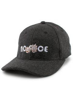 Cartoon Figure Letters Embroidery Felt Baseball Hat - Black