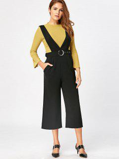 Wide Leg Capri Jumpsuit - Black M