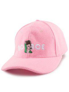 Cartoon Figure Letters Embroidery Felt Baseball Hat - Pink