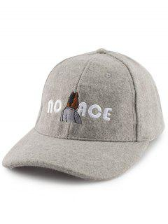 Cartoon Figure Letters Embroidery Felt Baseball Hat - Gray