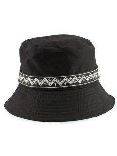 Zigzag Pattern Band Bucket Hat - Black