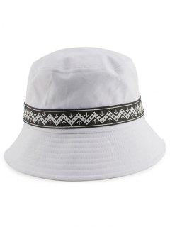 Zigzag Pattern Band Bucket Hat - White