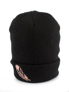 Feather Embroidery Flanging Knit Hat - Black