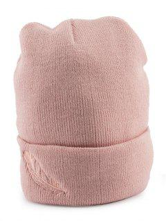 Feather Embroidery Flanging Knit Hat - Pink
