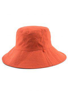 Reversible Plain Bucket Hat - Orange Red