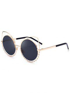 Alloy Rhinestone Cat Eye Sunglasses - Glod Frame + Black Lens